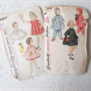 50s Toddlers' Patterns: Dress, Apron, Coat, Pants
